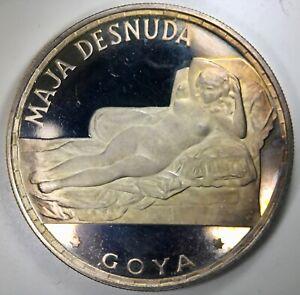 EQUATORIAL GUINEA: 1970 100 Pesetas ————> SILVER GOYA, LOVELY LIGHT AMBER TONING