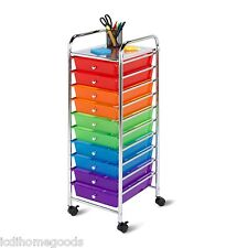 10 Drawer Rolling Storage Cart Multicolored Bins #CRT-02214 by Honey Can Do