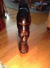 "Vintage African Totem Art Hand Carved Wood Bust, Head and Neck Statue 21"" Tall"