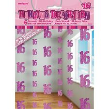 6 Happy 16th Birthday Pink Sparkle Prismatic 5ft String Party Decorations