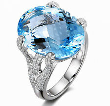 9.23ct Solid 14K White Natural Blue Swiss Topaz Diamond Engagement Wedding Ring