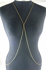 A Stunning Bronze Tone Cross Body, Belly, Harness Slave Chain Necklace,Hen Party