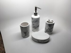 NEW! (4) PC GRAY & WHITE MARBLED PORCELAIN BATHROOM ACCESSORIES SET