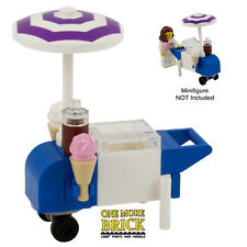 LEGO Ice Cream stand / Cart - Ice Cream sellers kart with parasol & 2 ice creams