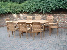 TOP QUALITY TEAK HARDWOOD EXTENDIBLE OVAL GARDEN TABLE WITH 8 CHAIRS  PATIO SET