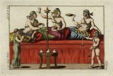 Costume Grec Antiquité Orgie Banquet Grèce Repas - Gravure aquarelle Spallart