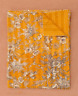 Yellow Kantha Quilt Throw 100% Cotton Lightweight Quilts Single/Double Bedspread