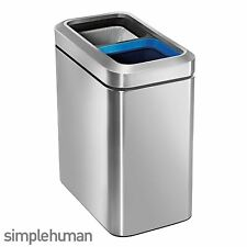 Simplehuman Brushed Stainless Steel Slim Open Top Recycler Recycling Bin 20L