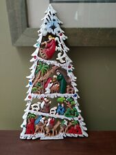 Wooden Nativity Scene Handcarved & Handpainted GORGEOUS OOAK