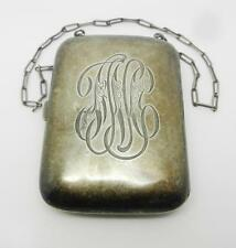 ANTIQUE STERLING SILVER COIN / MONEY / CARDS COMPACT PURSE -  LB-C0848