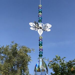 New Hanging 3D Bumble Bee Sun Catcher Mobile Bright Multi Coloured Glass Beads