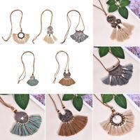 Bohemia Spiral Tassel Fringe Pendant Necklace Long Sweater Chain Women Jewelry