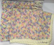 Lot of 2 Handmade Crochet Baby Blankets Afghan Lap Throw Multi Color