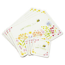 Set of 4 Placemats & Coasters Table Place Settings Mats White Floral Bee Happy