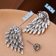 1 Pair Women Rhinestone Angel Wing Earrings Set Black Silver Bird Feather Boho
