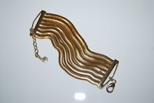 BOLD VINCE CAMUTO RUNWAY COUTURE GOLD TONED LARGE  FLOWING CHAINS CUFF BRACELET