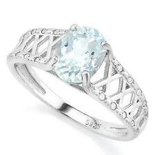 AQUAMARINE &  DIAMOND SILVER RING 0.80 CWT EARTH MINED STONES HALLMARKED