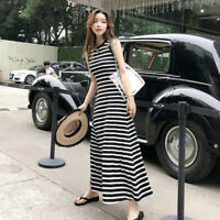 Korean Womens Dresses Striped Sleeveless A Line Round Neck Loose Slim Long Dress