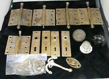 Antique  Eastlake Victorian Brass Door Hinges, Plates & Glass Doorknob Lot