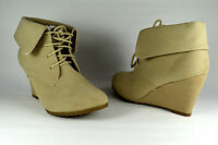 Zapatos Mujer Botines Botas Tacón De Cuña Beige Cordones G. 36-41 A.8432