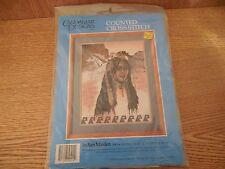 "NIP Candamar Designs Cross Stitch Kit ""Indian Maiden"" Southwest w Horses 14x18"