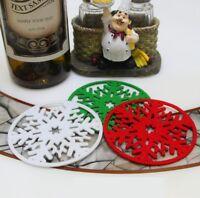 3x Christmas Snow Coasters Drink Place Mats Felt Coffee Wine Cup Tea Craft Xmas