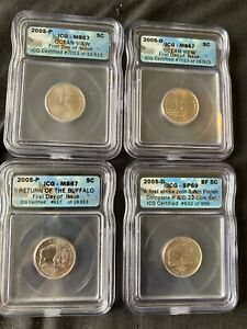 2005 four coin P and D set of Westward Journey Nickels IGC Certified