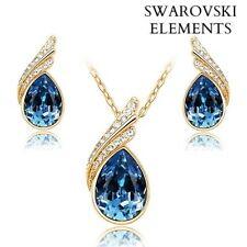 collier boucles d'oreilles goutte d'eau Swarovski® Elements bleu profond design