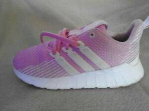 ADIDAS QUESTAR FLOW GIRLS TRAINERS PINK SIZE 2 UK 34 EURO E12