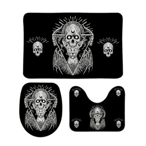 Skull Goth Occult Cat Coral Velvet 3 Piece Bathroom Set Black And White