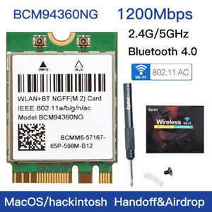 BCM94360NG M.2 wifi Card Hackintosh wifi BCM94360NG wifi Adapter Bluetooth 4.0