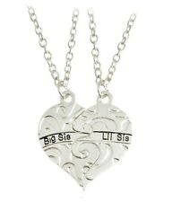 2pc Big Little Sis Sister Necklace Matching Heart Friendship Best Friend Silver