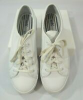 KEDS ORIGINAL Sneakers White Leather Platform 9 US Womens Lace Up Tennis Shoes