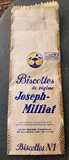 Superbe ancien sac Biscottes Joseph Millat 1940 Minoterie à Lyon