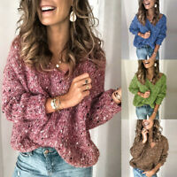 Women Casual Thick Regular Long Sleeve V-Neck Pullover Knit Loose Top Sweater