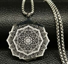 Fashion Jewelry Long Silver Plated Lotus Flower Pendant Stainless Steel Necklace