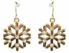 Zest Christmas Snowflake Diamante Drop Earrings for Pierced Ears Gold Look