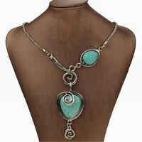 Vintage Women's Turquoise Necklace Heart Bib Collar Statement Pendant Jewelry