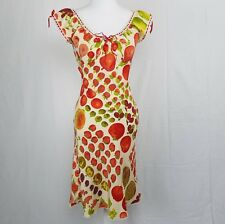 BETSEY JOHNSON VINTAGE Dress Fruit Apple Cherry Fig Print Ivory Silk Red Size 6