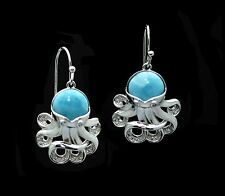 Natural Blue Larimar Octopus Premium 10mm Cabochon. 925 Sterling Silver Earrings