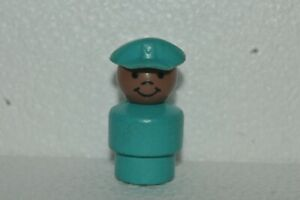 1986-90 Fisher Price Little People Mailman African American Wood Base Very Good