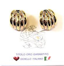 Orecchini DONNA oro giallo rosa e bianco  18kt 750/°°°   Made in Italy
