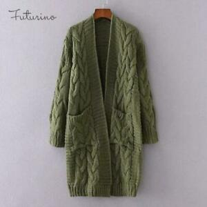 Fashion Womens Long Sleeve Oversized Loose Knitted Sweater Jumper Cardigan Coat