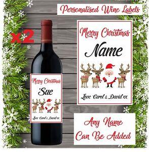 2 Personalised Name Wine Bottle Labels Vinyl Sticker Christmas gift Secret santa
