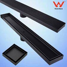 Black Tile Insert Stripe Fence Linear Shower Grate Long Floor Drain Waste SUS304