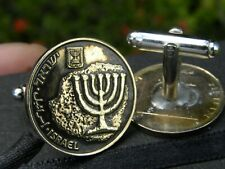 from Holy Land Jerusalem Menorah Jewish Hebrew Cuff links real Israel coin come