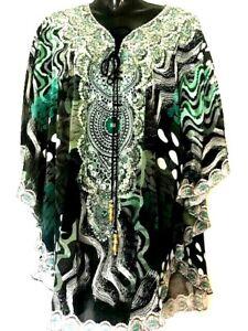 Kaftans Short/Embellished /Not Sheer Viscose /Beaded Ties/ Free Size/ RR$149.95