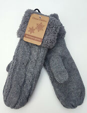 Fausthandschuhe Handschuhe Fäustlinge Zopfmuster grau Teddyfutter