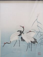 """""""CRANES"""" BY C. KANO HAND TINTED LITHOGRAPH WITH ARTISTS SEAL / SIGNATURE."""