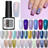 LEMOOC 8ml Smalto Gel UV per Unghie Paillettes Luccicanti Nail Art UV Gel Polish